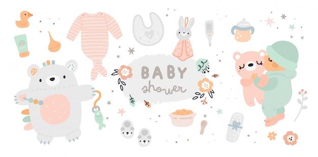 Neugeborene essentials-sammlung. baby muss haben Premium Vektoren