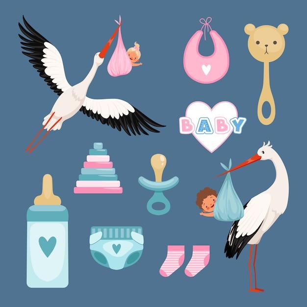 Neugeborene icons set. niedliche artikel für kinder kleider blumen spielzeug kleinkind fliegenden storch mit baby farbigen gegenständen Premium Vektoren