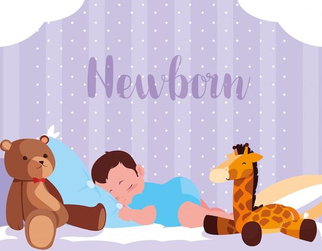 Neugeborene karte mit dem baby, das mit spielwaren schläft Premium Vektoren