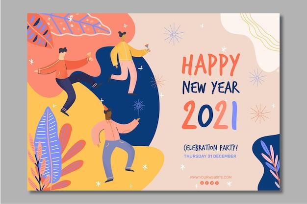 Neujahr 2021 bannerkonzept Premium Vektoren