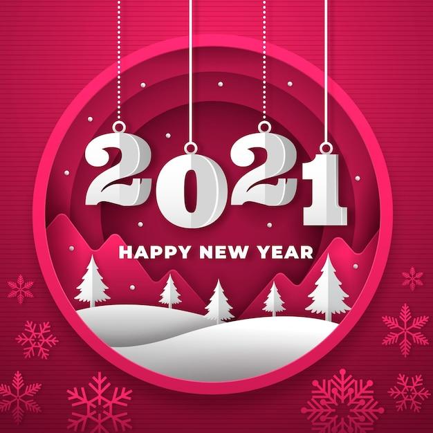 Neujahr 2021 hintergrund im papierstil mit bäumen Kostenlosen Vektoren