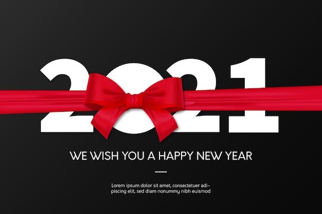 Neujahr 2021 hintergrund mit rotem band Kostenlosen Vektoren