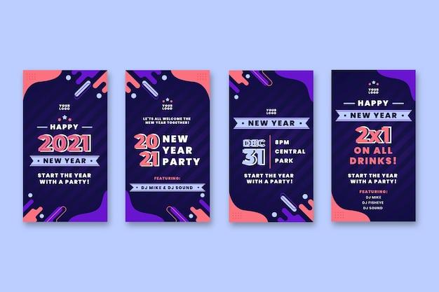 Neujahr 2021 instagram geschichten sammlung Premium Vektoren