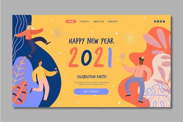 Neujahr 2021 landing page Kostenlosen Vektoren