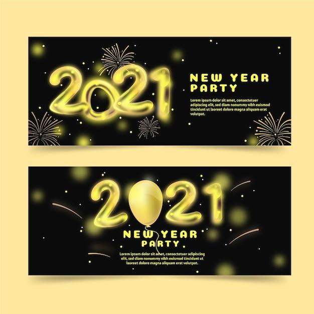Neujahr 2021 party flache banner Kostenlosen Vektoren