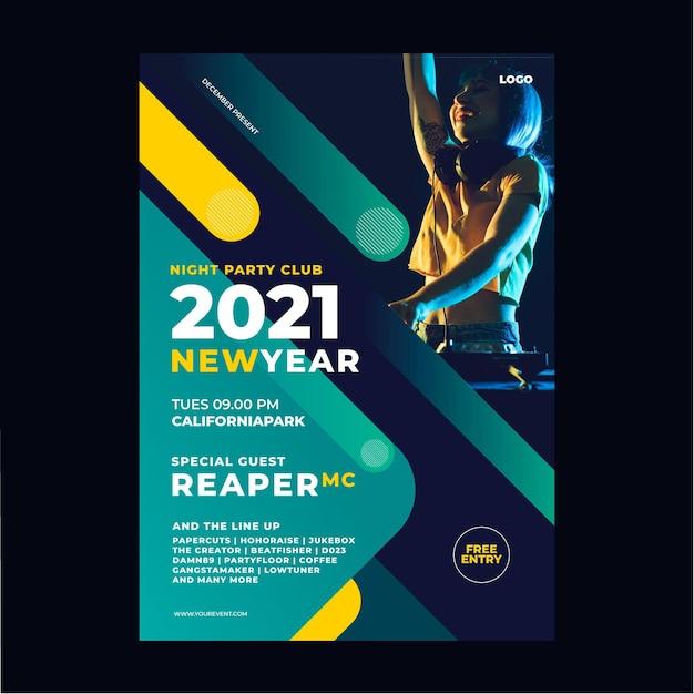 Neujahr 2021 party poster vorlage Kostenlosen Vektoren