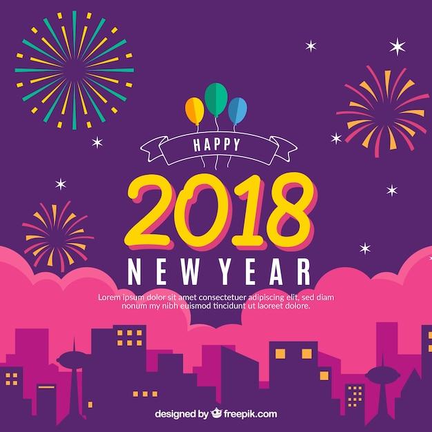 Neujahr Feuerwerk Hintergrund Kostenlose Vektoren