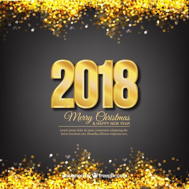 Neujahr hintergrund mit goldenen glitzer Kostenlosen Vektoren