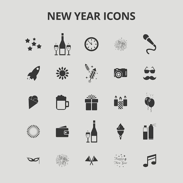 Neujahrs-icons Kostenlosen Vektoren