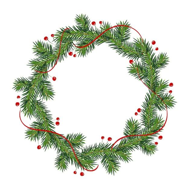 Neujahrs- und weihnachtskranz Premium Vektoren