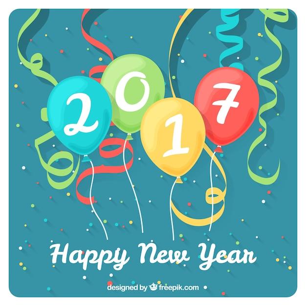 Neujahrskarte mit ballons und streamer Kostenlosen Vektoren