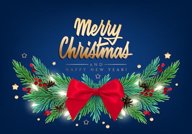 Neujahrskarte mit einer grünen girlande von weihnachtsbaumasten mit dekorationen und beschriftung Premium Vektoren