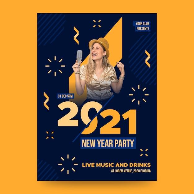 Neujahrspartyplakatschablone mit foto Kostenlosen Vektoren