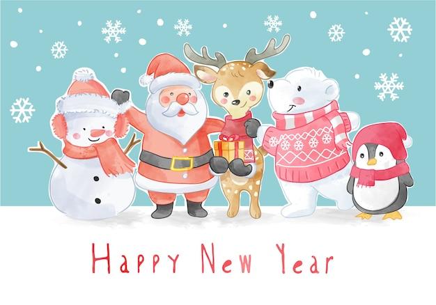 Neujahrsslogan mit weihnachtsmannschaftsillustration Premium Vektoren