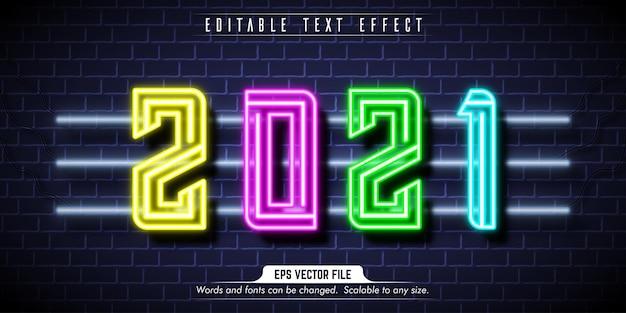 Neujahrstext, bearbeitbarer texteffekt im neonstil Premium Vektoren