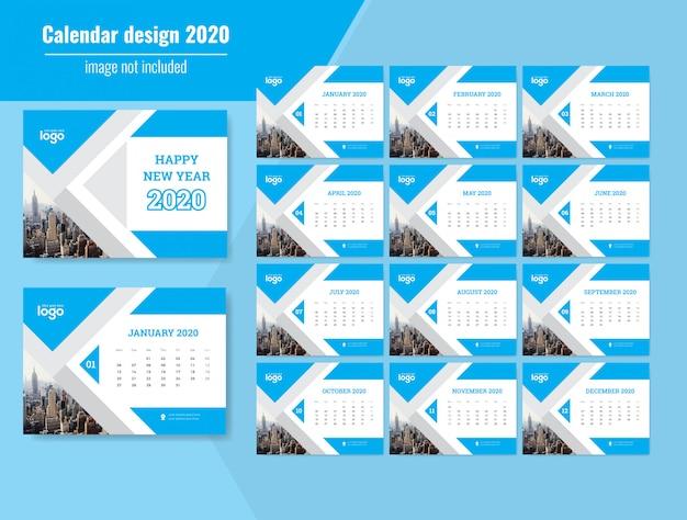 Neujahrswandkalender 2020 Premium Vektoren