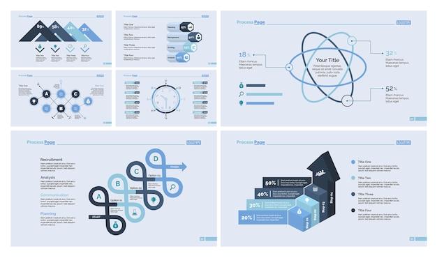 Neun business slide template set Kostenlosen Vektoren