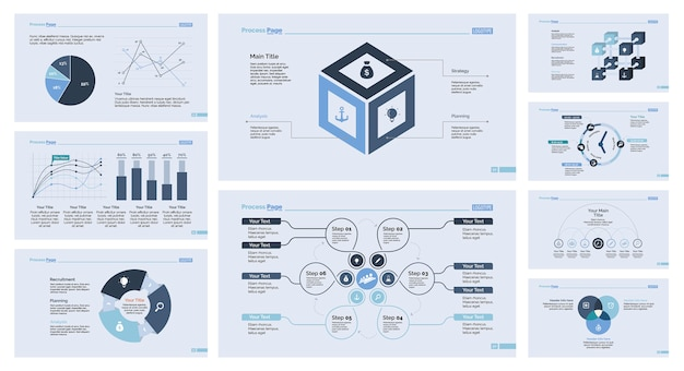 Neun economics slide template set Kostenlosen Vektoren
