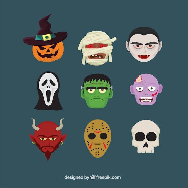 Neun köpfe von zeichen von halloween Kostenlosen Vektoren