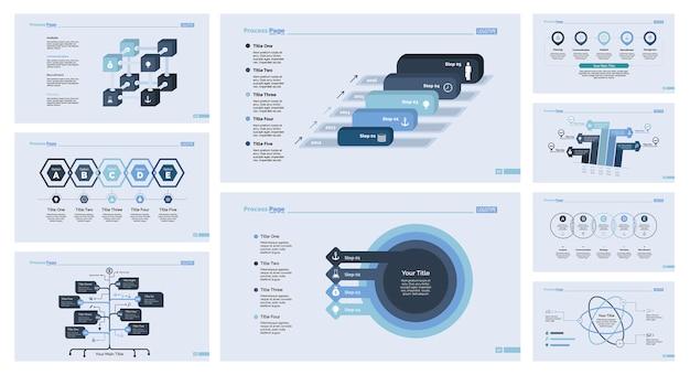 Neun marketing slide template set Kostenlosen Vektoren
