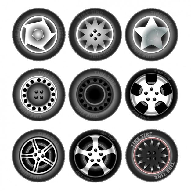Neun Reifen Kostenlose Vektoren