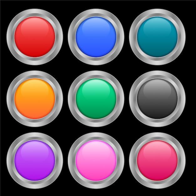 Neun runde glänzende knöpfe in verschiedenen farben Kostenlosen Vektoren