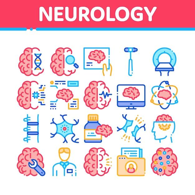 Neurologie-medizin-sammlungs-ikonen eingestellt Premium Vektoren