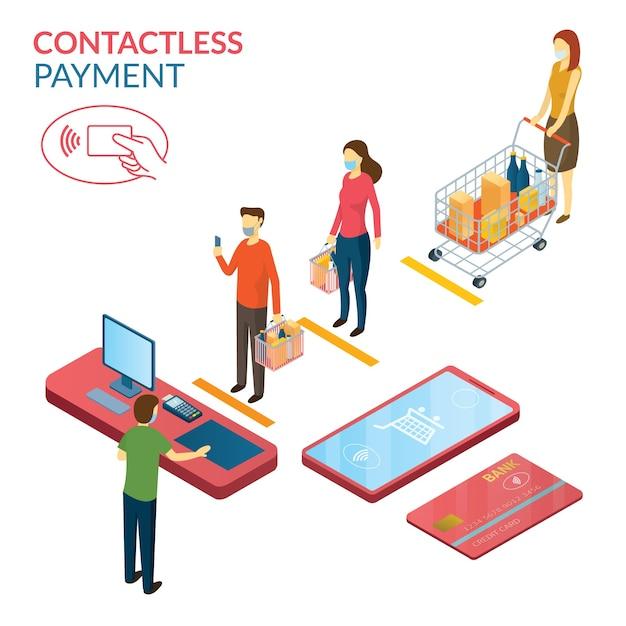 New normal, menschen in sozialer distanz und kontaktlosem bezahlen, einkaufen in mart und store Premium Vektoren