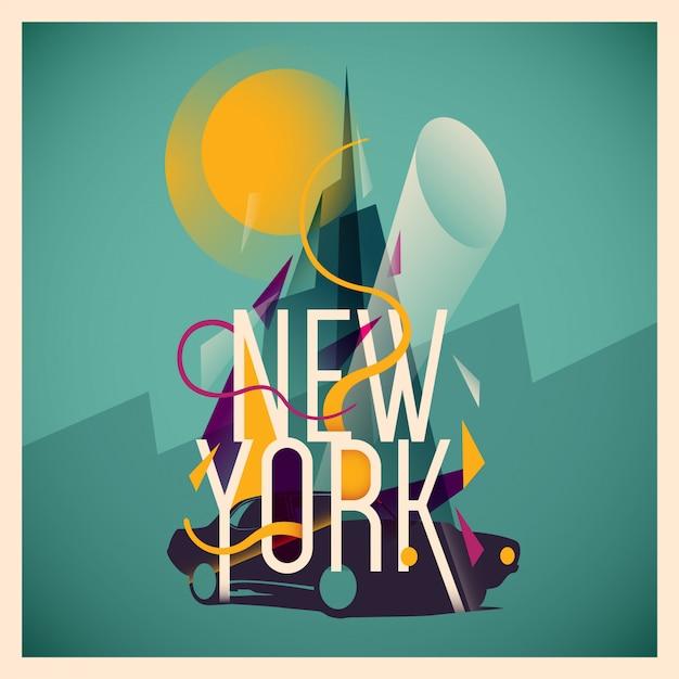 New york abbildung Premium Vektoren