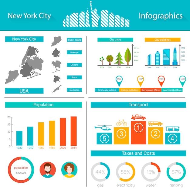 New york city infografik Premium Vektoren