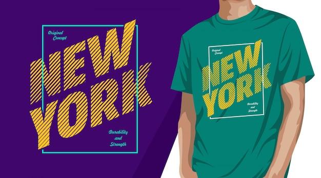 New york city typografie t-shirt design für druck Premium Vektoren