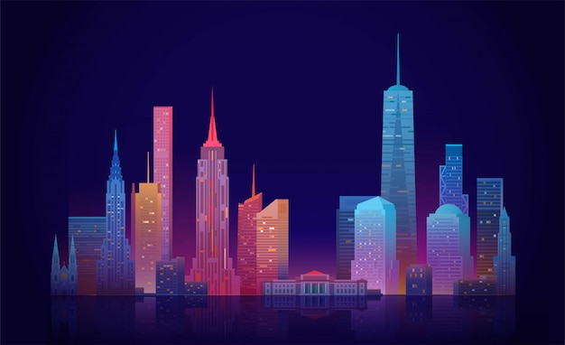 New york skyline illustration Premium Vektoren