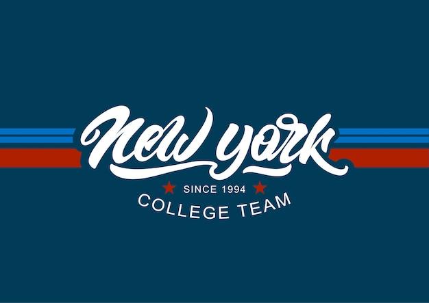 New york slogan print, college-stil mit schriftzug Premium Vektoren
