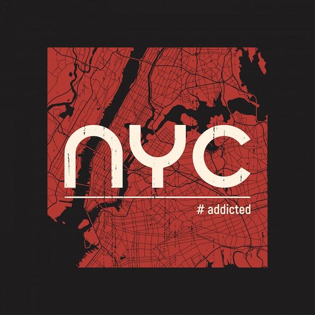 New- yorksüchtiges t-shirt und kleid Premium Vektoren