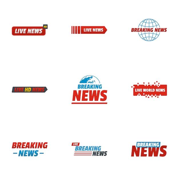 News story icons set. flache reihe von 9 news story icons Premium Vektoren