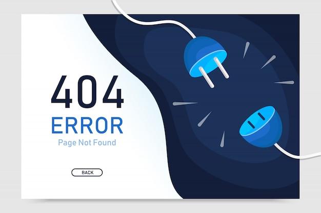 Nicht gefundener vektor der fehlerseite 404 mit steckergrafikdesignschablone für websitegrafik Premium Vektoren