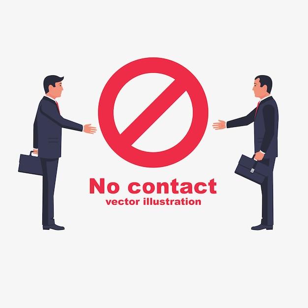 Nicht kontaktieren. kein händedruck. rotes verbotsschild. Premium Vektoren