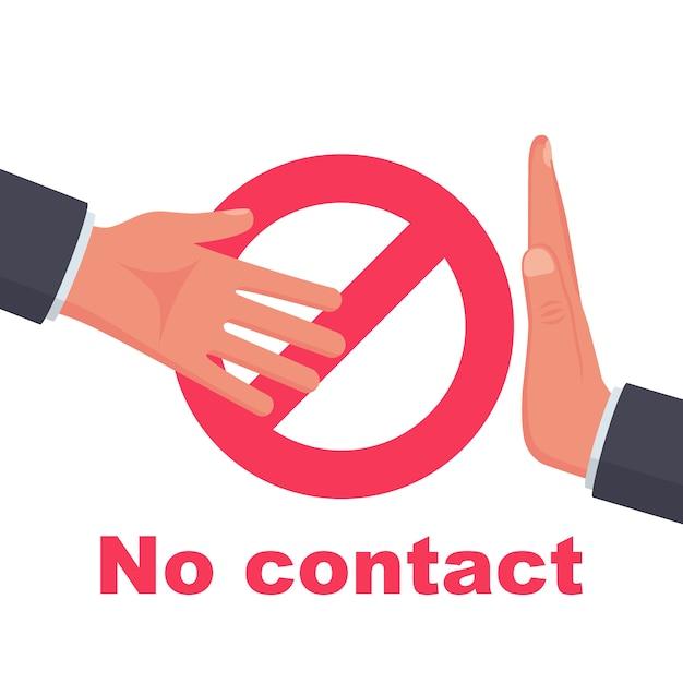 Nicht kontaktieren. kein handshake-symbol. rotes verbotsschild Premium Vektoren