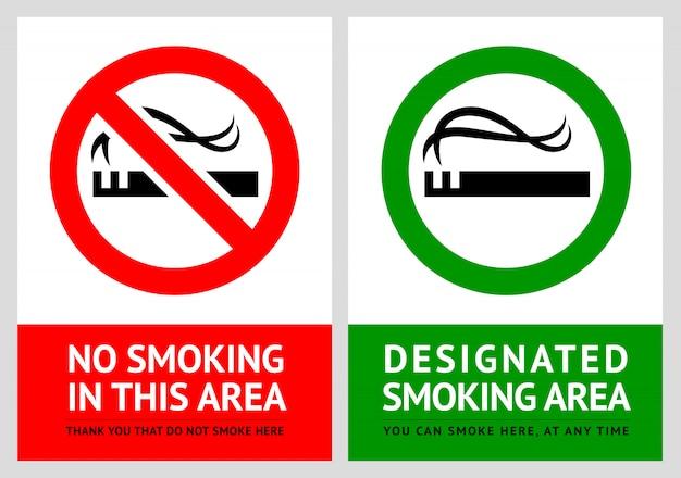 Nichtraucher - und raucherzonenetiketten - set 2 Premium Vektoren