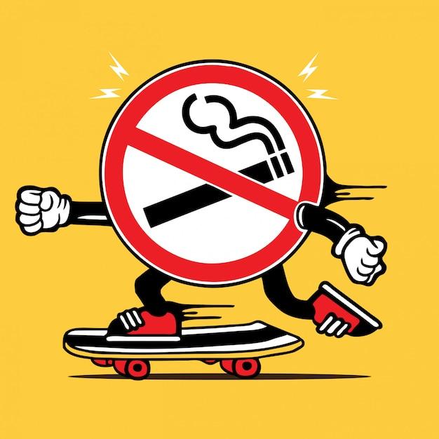 Nichtraucherzeichen-skater-skateboard-charakter Premium Vektoren