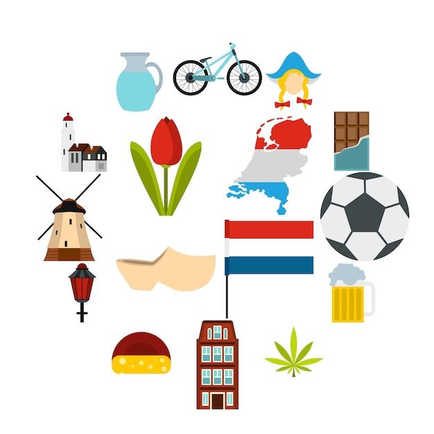 Niederländische ikonen eingestellt, flache art Premium Vektoren