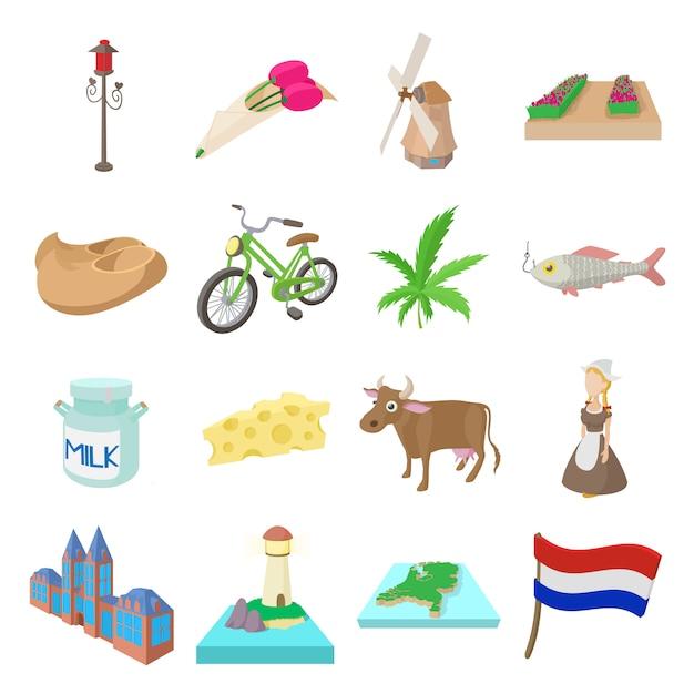 Niederländische ikonen eingestellt in karikaturartvektor Premium Vektoren
