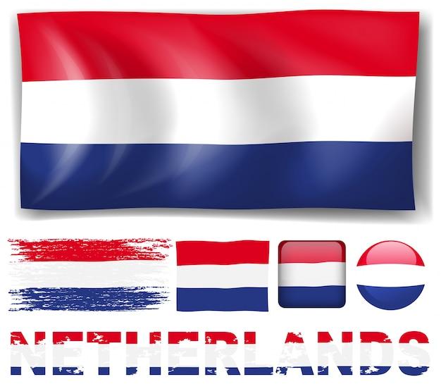 Niederlande-flagge in verschiedenen designs illustration Kostenlosen Vektoren