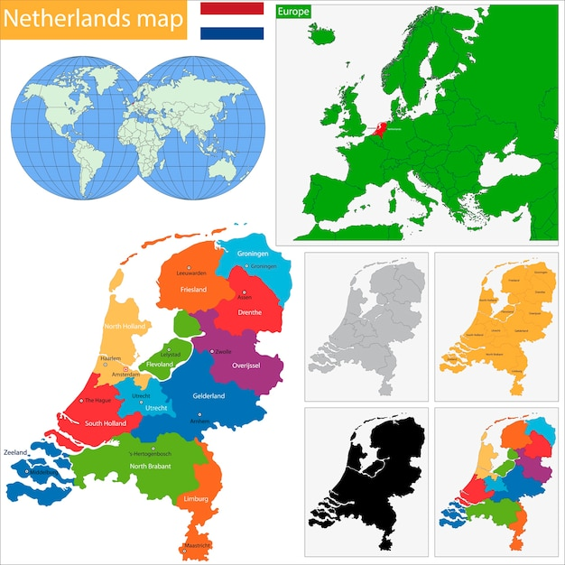 Niederlande Karte Umriss.Niederlande Karte Download Der Premium Vektor