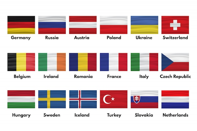 Niederlande, slowakei, türkei, schweden, island, ungarn, tschechische republik, italien frankreich, rumänien, irland, belgien, schweiz, ukraine, polen, österreich, russland, deutschland flaggen mit schatten gesetzt Premium Vektoren