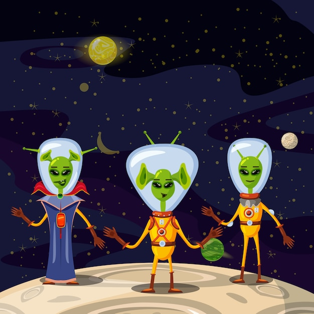 Niedliche aliens in raumanzügen, raumschiff-crew-zeichentrickfilm-figuren Premium Vektoren