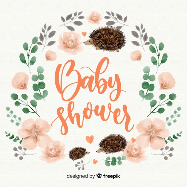 Niedliche aquarell baby-dusche-vorlage Kostenlosen Vektoren