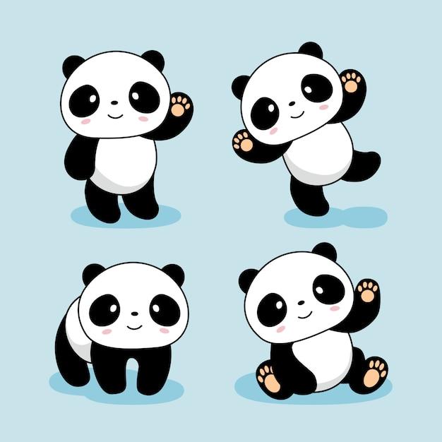 Niedliche baby-panda-cartoon-tiere Premium Vektoren