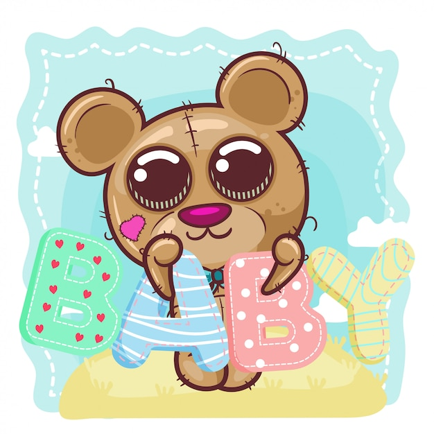 Niedliche babybärenkarikatur. - vektor Premium Vektoren