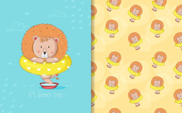 Niedliche babykarikaturlöwenkarte und nahtloses muster für kinder Premium Vektoren